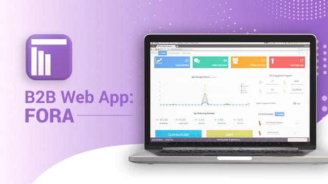 b2b web app by fora on a laptop with data