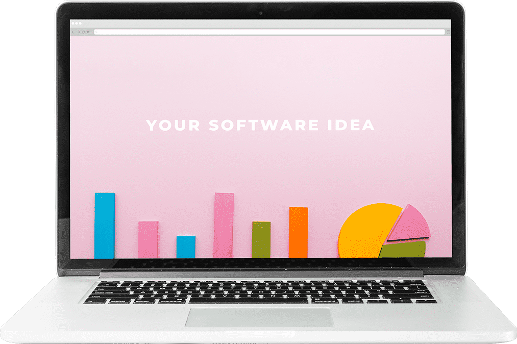 laptop on a mock site that says your software idea no background